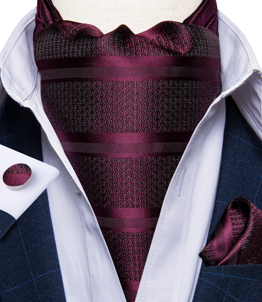 New Purplish Red Silk Cravat Woven Ascot Tie Pocket Square Handkerchief Suit Set (4601459474513)