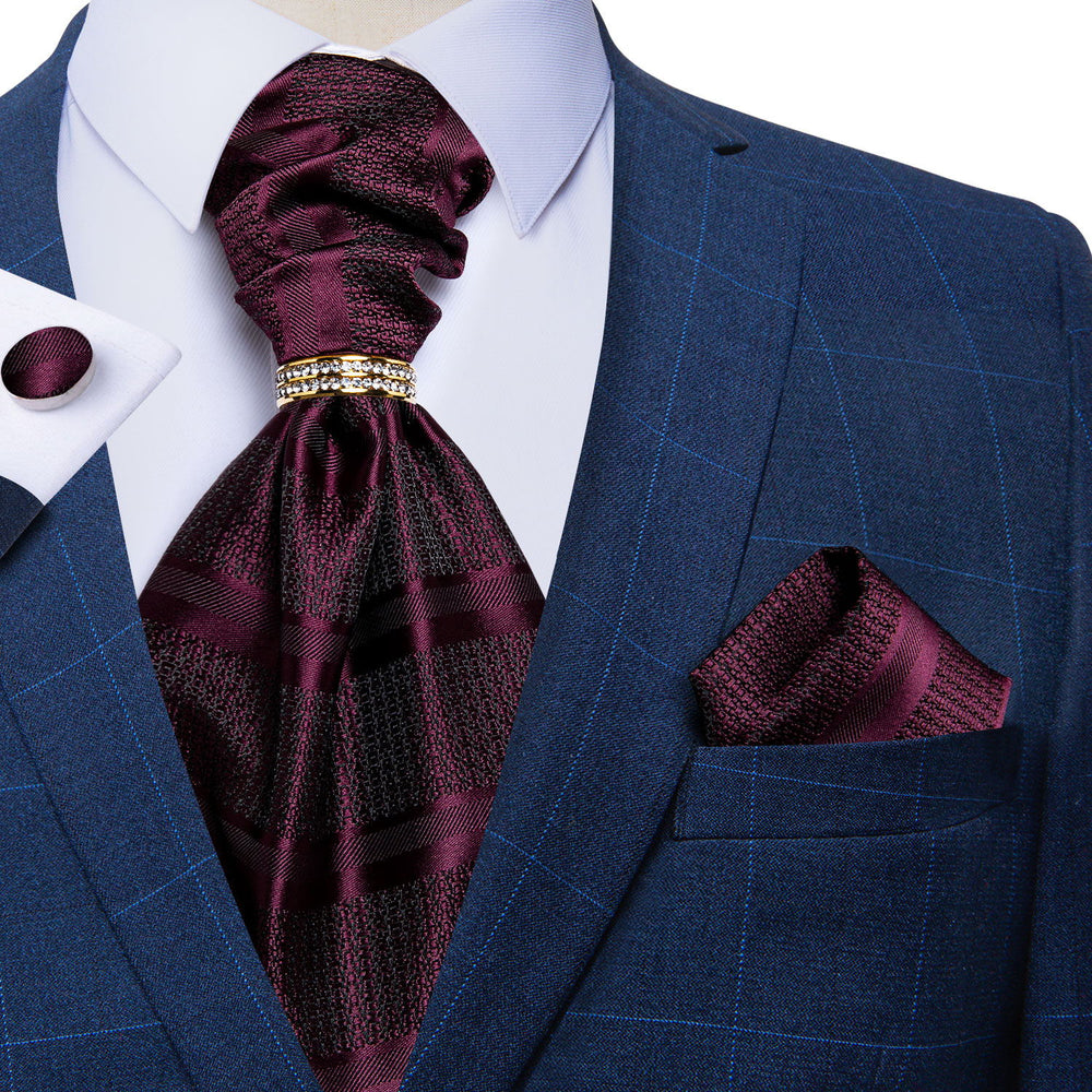Purplish Red Silk Cravat Woven Ascot Tie Pocket Square Cufflinks With Tie Ring Set