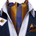 New Blue Yellow Plaid Silk Cravat Woven Ascot Tie Pocket Square Handkerchief Suit Set