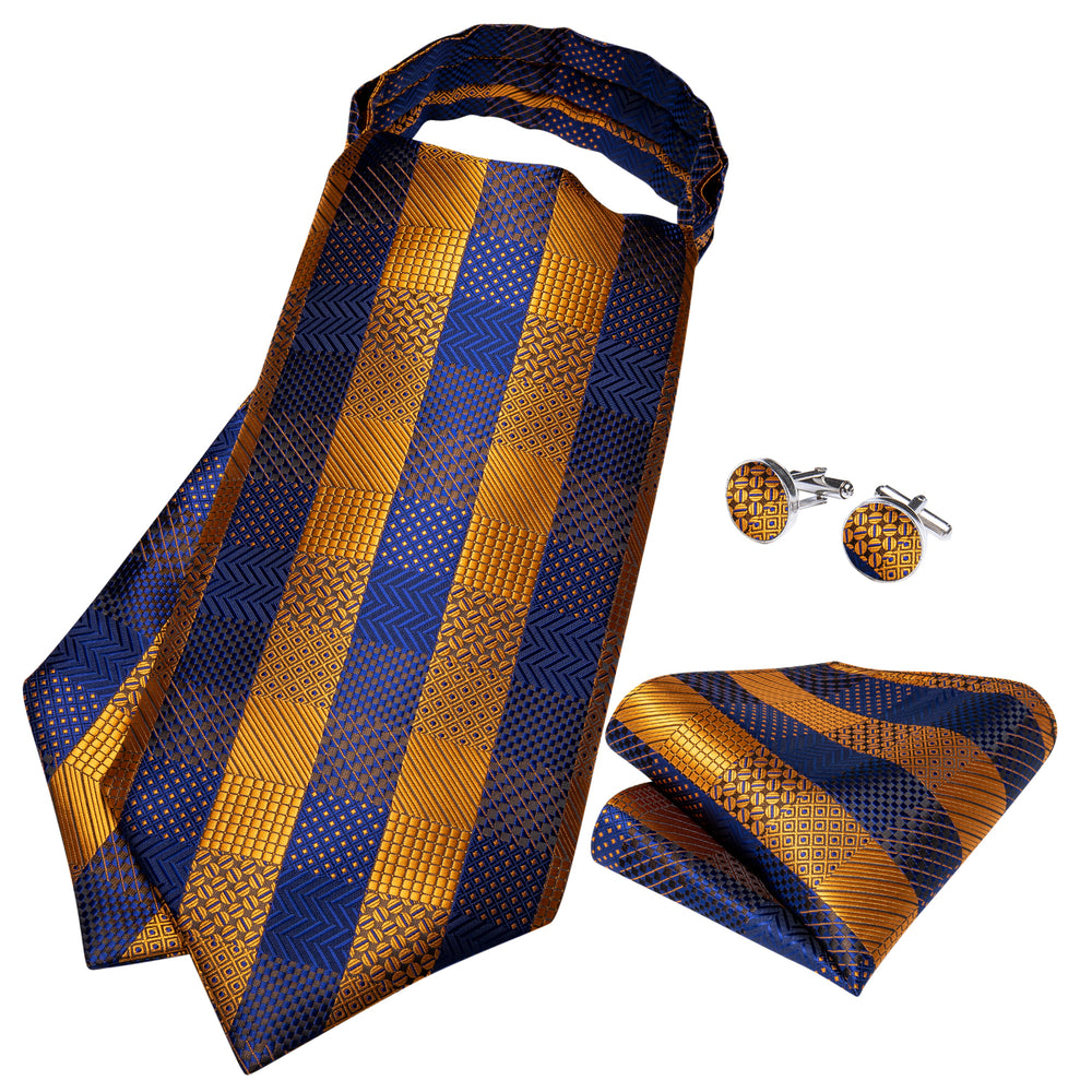 Blue Yellow Plaid Silk Cravat Ascot Tie Ring Pocket Square Cufflinks Set