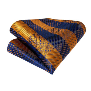 Load image into Gallery viewer, New Blue Yellow Plaid Silk Cravat Woven Ascot Tie Pocket Square Handkerchief Suit Set