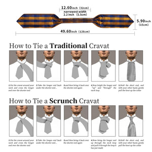 New Blue Yellow Plaid Silk Cravat Woven Ascot Tie Pocket Square Handkerchief Suit Set (4601464750161)