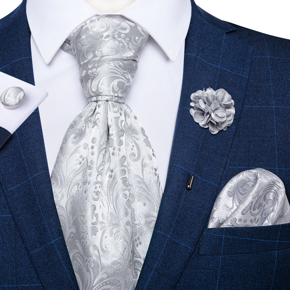 New Silver Floral Silk Cravat Woven Ascot Tie Pocket Square Handkerchief Suit with Lapel Pin Brooch Set