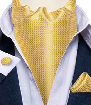 Load image into Gallery viewer, New Yellow Plaid Silk Cravat Woven Ascot Tie Pocket Square Handkerchief Suit Set