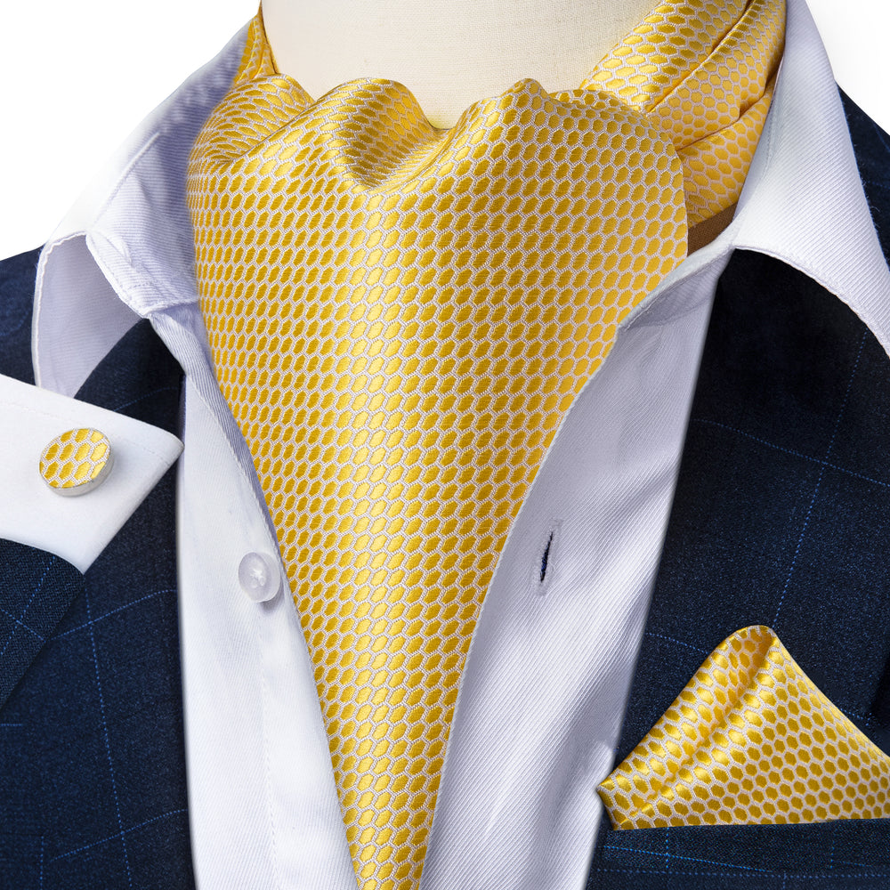 Load image into Gallery viewer, Yellow Plaid Silk Cravat Ascot Tie Ring Pocket Square Cufflinks Set