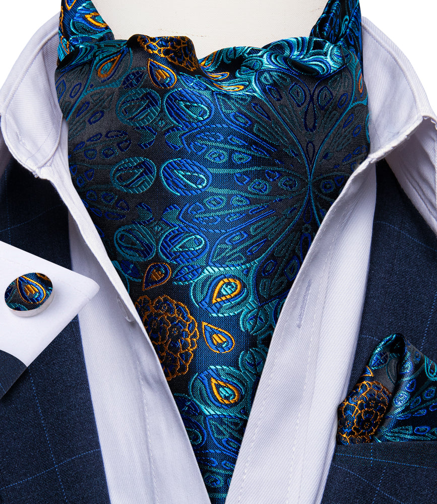 New Blue Floral Silk Cravat Woven Ascot Tie Pocket Square Handkerchief Suit Set