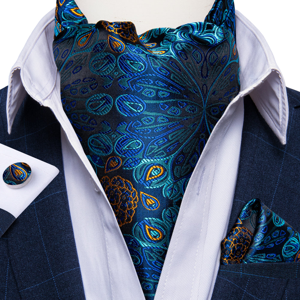 Blue Floral Silk Cravat Woven Ascot Tie Pocket Square Cufflinks With Tie Ring Set (4667823915089)