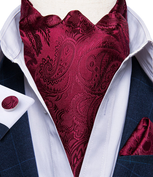 New Red Paisley Silk Cravat Woven Ascot Tie Pocket Square Handkerchief Suit Set