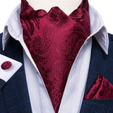 Red Paisley Silk Cravat Ascot Tie Ring Pocket Square Cufflinks Set