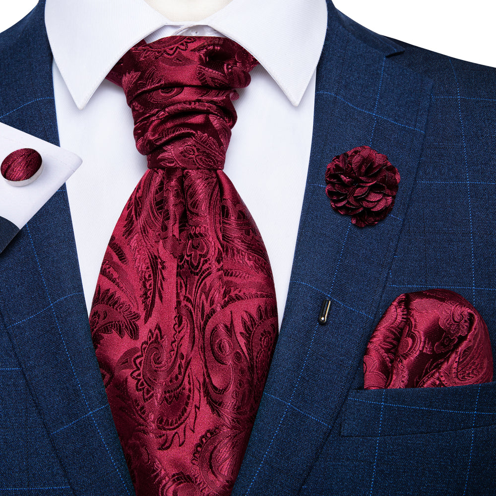 Red Paisley Silk Cravat Woven Ascot Tie Pocket Square Handkerchief Suit with Lapel Pin Brooch Set