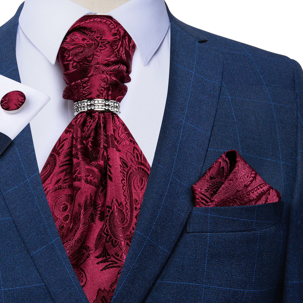 Red Paisley Silk Cravat Woven Ascot Tie Pocket Square Cufflinks With Tie Ring Set (4667825389649)