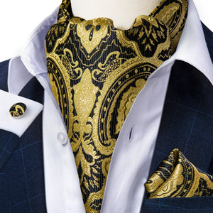 Golden Black Floral Silk Cravat Woven Ascot Tie Pocket Square Cufflinks With Tie Ring Set