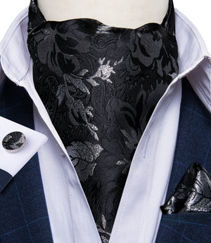 New Black Floral Silk Cravat Woven Ascot Tie Pocket Square Handkerchief Suit Set (4601510395985)