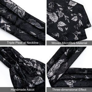New Black Floral Silk Cravat Woven Ascot Tie Pocket Square Handkerchief Suit Set