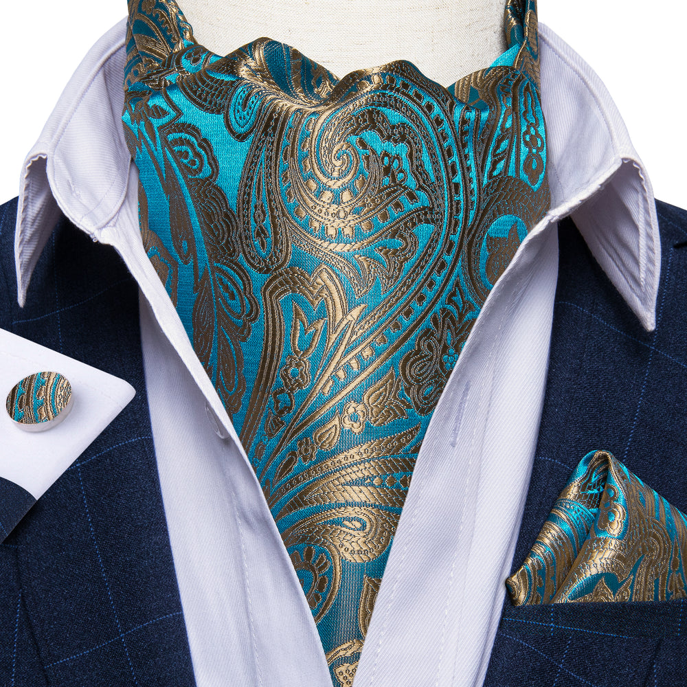 Load image into Gallery viewer, New Blue Golden Paisley Silk Cravat Woven Ascot Tie Pocket Square Handkerchief Suit Set