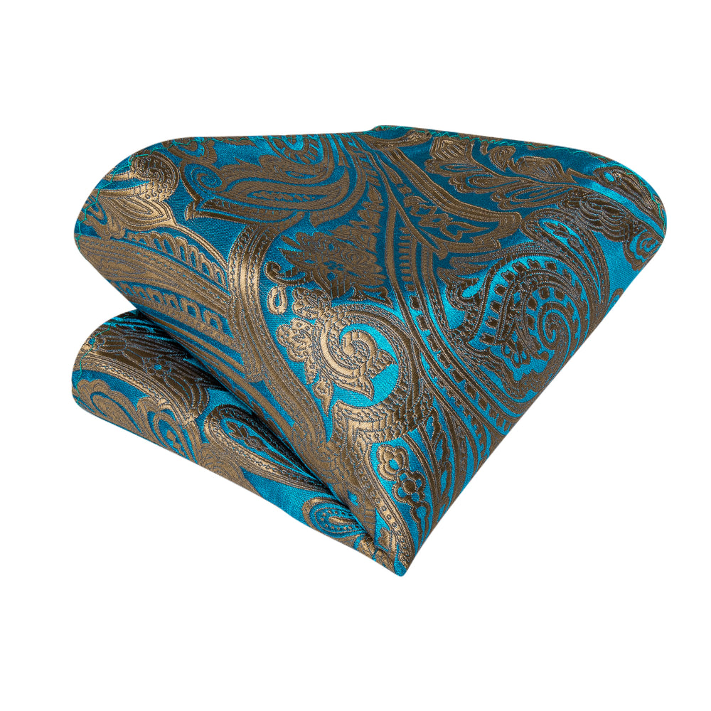 New Blue Golden Paisley Silk Cravat Woven Ascot Tie Pocket Square Handkerchief Suit Set