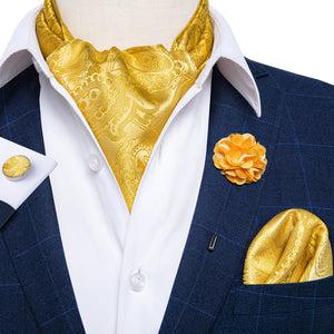 Golden Paisley Silk Cravat Woven Ascot Tie Pocket Square Handkerchief Suit with Lapel Pin Brooch Set