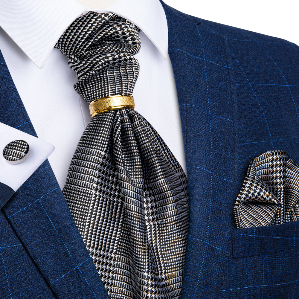 New Houndstooth Silk Cravat Woven Ascot Tie Pocket Square Cufflinks With Tie Ring Set