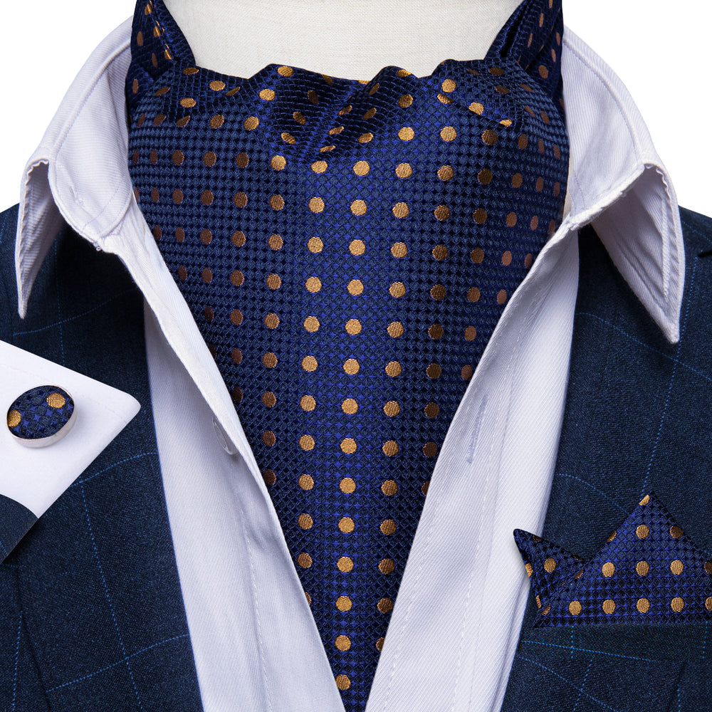 New Blue Brown Polka Dot Silk Cravat Woven Ascot Tie Pocket Square Handkerchief Suit Set