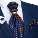 New Blue Brown Polka Dot Silk Cravat Woven Ascot Tie Pocket Square Cufflinks With Tie Ring Set