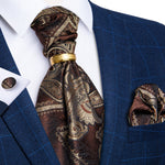 New Brown Paisley Silk Cravat Woven Ascot Tie Pocket Square Cufflinks With Tie Ring Set