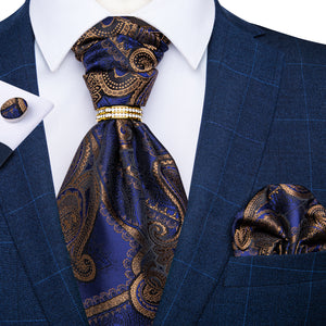 New Blue Brown Paisley Silk Cravat Woven Ascot Tie Pocket Square Cufflinks With Tie Ring Set