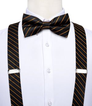 Black Golden Striped Brace Clip-on Men's Suspender with Bow Tie Set