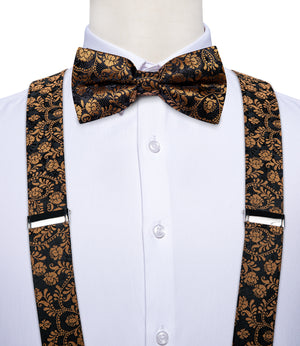 Black Golden Floral Brace Clip-on Men's Suspender with Bow Tie Set