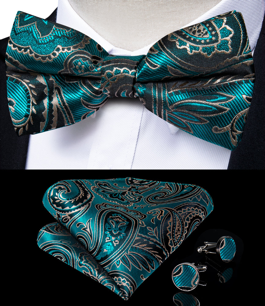 Load image into Gallery viewer, Green Floral Brace Clip-on Men's Suspender with Bow Tie Set