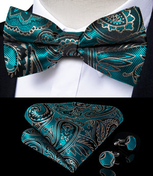 Green Floral Brace Clip-on Men's Suspender with Bow Tie Set
