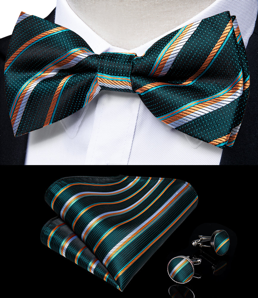 Green Orange Striped Brace Clip-on Men's Suspender with Bow Tie Set