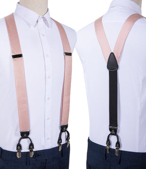 Pink Solid Brace Clip-on Men's Suspender with Bow Tie Set