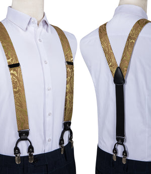 Yellow Brown Brace Clip-on Men's Suspender with Bow Tie Set