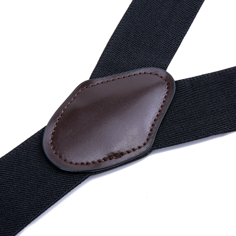 Load image into Gallery viewer, Black Solid Men's Classic Brace Clip-on Suspenders