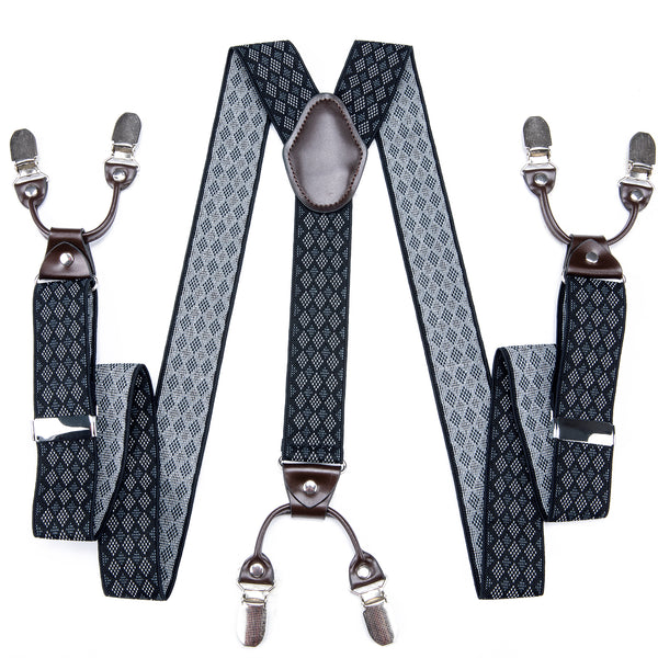 Black Grey Plaid Men's Classic Brace Clip-on Suspenders