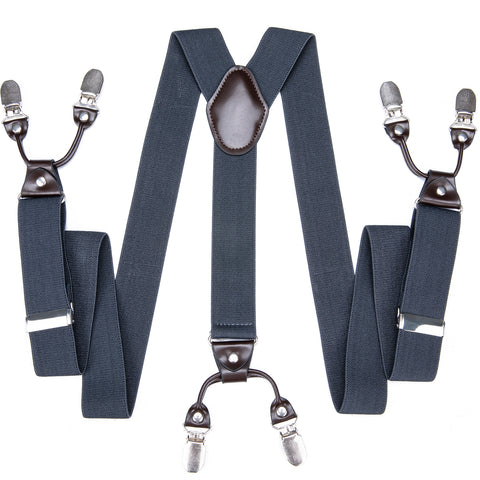 Grey Blue Solid Men's Classic Brace Clip-on Suspenders