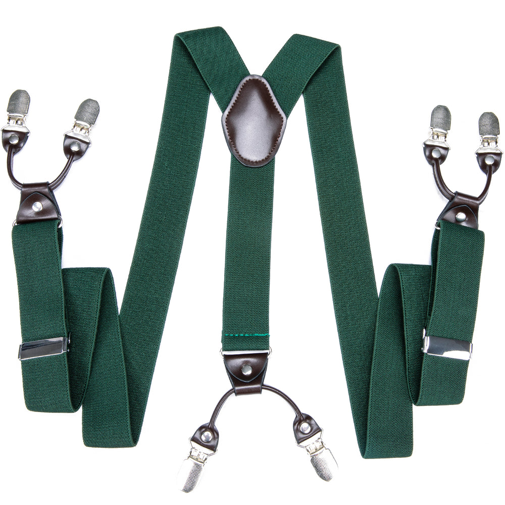 Green Solid Men's Classic Brace Clip-on Suspenders