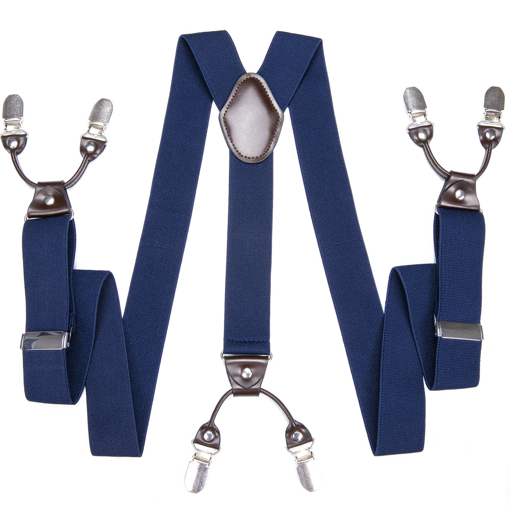 Navy Blue Solid Men's Classic Brace Clip-on Suspenders