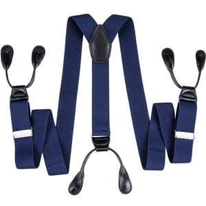 Load image into Gallery viewer, Blue Solid Men's Classic Clasp Suspenders