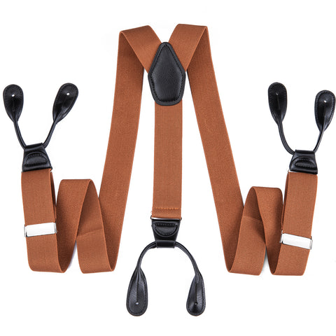 Orange Brown Solid Men's Classic Clasp Suspenders