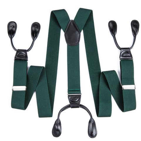 Green Solid Men's Classic Clasp Suspenders