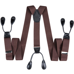 Brown Red Solid Men's Classic Clasp Suspenders
