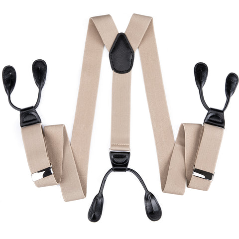 Beige Yellow Solid Men's Classic Clasp Suspenders