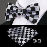 Black White Plaid BowTie Pocket Square Cufflinks Set