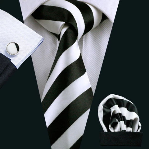 Black White Striped Tie Pocket Square Cufflinks Set