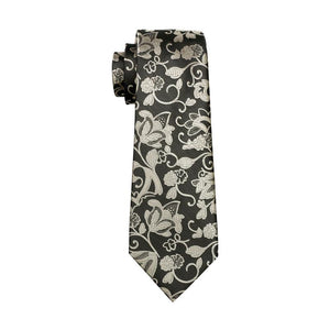 Load image into Gallery viewer, Brown Black Floral Men's Tie Pocket Square Cufflinks Set