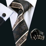 Brown Floral Tie Handkerchief Set