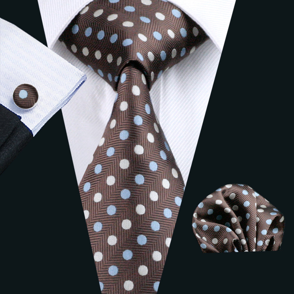 Brown Polka Dot Tie Pocket Square Cufflinks Set