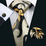 Attractive Brown Yellow Novelty Tie Hanky Cufflinks Set