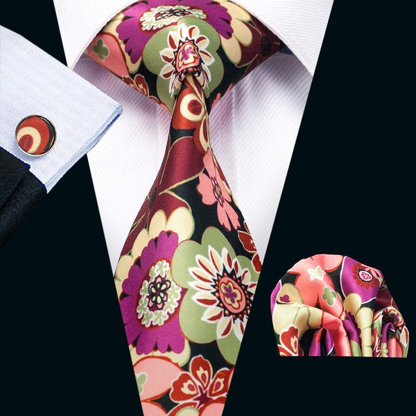 Red Orange Floral Mens Tie Pocket Square Cufflinks Set